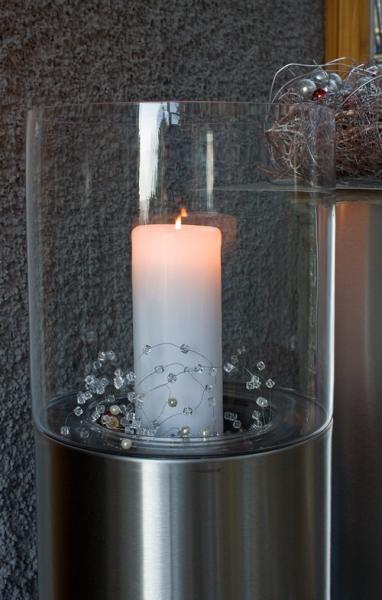 edelstahl blumens ule windlicht kombination. Black Bedroom Furniture Sets. Home Design Ideas